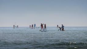 Grupp människor i havsdrev står paddla upp Utomhus- sportslig aktivitet SOMMAREN landskap Arkivbilder