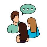 Grupp människor med anförandebubblaavatars royaltyfri illustrationer