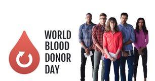 Grupp människor med diagrammet för donation för för världsblodgivaredag och blod arkivfoton
