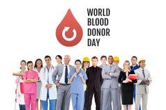 Grupp människor med diagrammet för donation för för världsblodgivaredag och blod royaltyfri foto