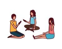Grupp människor med smartphoneavatarteckenet stock illustrationer