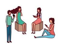 Grupp människor med smartphoneavatarteckenet vektor illustrationer