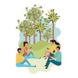 Grupp människor med smartphonen i landskaptecken vektor illustrationer