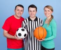 Grupp människor med sportbollar Fotografering för Bildbyråer