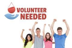 Grupp människor med volontären behövde text och ett diagram för bloddonation Royaltyfri Foto