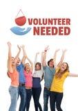 Grupp människor med volontären behövde text och ett diagram för bloddonation Royaltyfria Foton