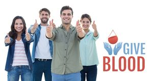 Grupp människor och begrepp för bloddonation Arkivbild