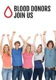 Grupp människor och begrepp för bloddonation Fotografering för Bildbyråer