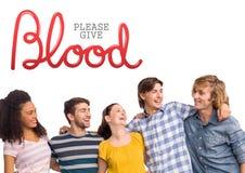 Grupp människor och begrepp för bloddonation Arkivfoto