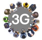 Grupp människor och begrepp 3G Arkivbilder