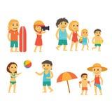 Grupp människor på stranden Royaltyfri Foto