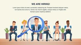 Grupp människor sitter i intervju för köväntanjobb stock illustrationer