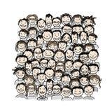 Grupp människor skissar för din design stock illustrationer