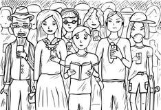 Grupp människor som använder mobiltelefoner Royaltyfri Foto