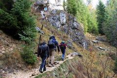 Grupp människor som följer banan upp berg Royaltyfria Bilder