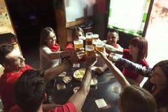 Grupp människor som firar i en bar som dricker öl royaltyfri bild