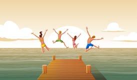 Grupp människor som hoppar från träpir in i vattnet Familj som har gyckel som hoppar i havsvattnet stock illustrationer