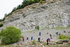 Grupp människor som söker för ammonitfossil i kalksten Royaltyfria Foton