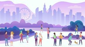 Grupp människor som tycker om tid och att gå och att meddela, har gyckel, datumet, samtalet, skratt i vektorn för aftonstadsteckn stock illustrationer
