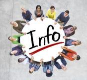 Grupp människorinnehavhänder runt om information om bokstav Arkivbild