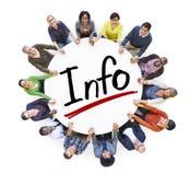 Grupp människorinnehavhänder runt om information om ord Royaltyfria Bilder