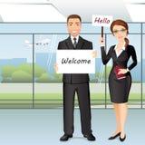 Grupp människormöte någon i flygplatskorridor stock illustrationer