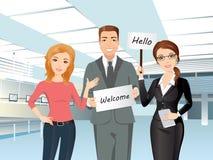 Grupp människormöte någon i flygplatskorridor vektor illustrationer
