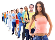 Grupp människor på vit Royaltyfri Bild