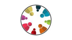 Gruppanslutning, åtta personer i cirkeln roterar rörelsediagram för upplösning 4K arkivfilmer