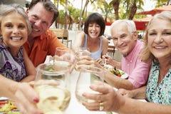Gruppe ältere Freunde, die Mahlzeit Restaurant im im Freien genießen lizenzfreie stockfotografie