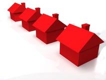 Gruppe 3D Häuser Lizenzfreies Stockfoto