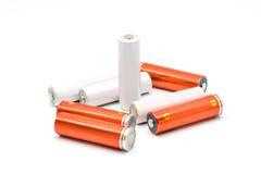 Gruppe AA-Größenbatterien lokalisiert Stockbild
