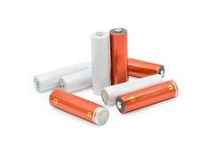 Gruppe AA-Größenbatterien lokalisiert Stockfotografie
