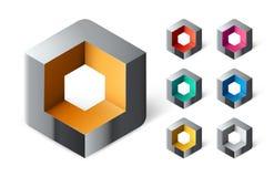 Gruppe abstraktes Würfellogodesign Stockbild