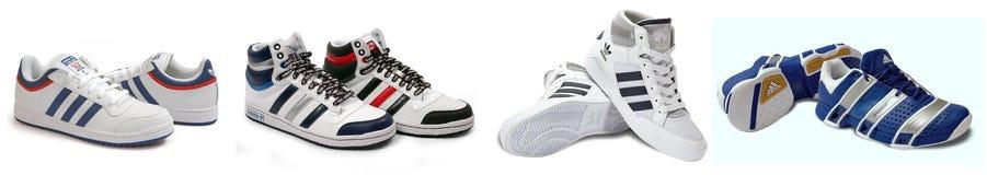 Gruppe Adidas-Sportschuhe Stockfoto