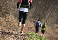 Gruppe Athleten, die das Landrennen im Berg im Winter laufen lassen stockfotografie