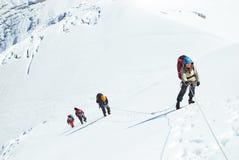 Gruppe Bergsteiger erreicht die Spitze der Bergspitze Klettern und stockbild