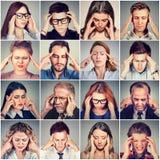 Gruppe betonte traurige Leutemänner und -frauen, die Kopfschmerzen haben stockbild