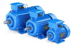 Gruppe blaue elektrische industrielle Motoren Stockfoto