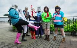 Gruppe cosplayers an der Versammlung Yorkshires Cosplay lizenzfreie stockfotos