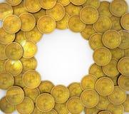 Gruppe 3D Bitcoins lokalisiert auf Hintergrund stock abbildung
