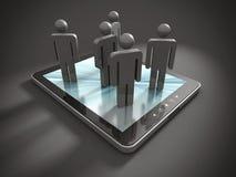 Gruppe 3d PeopleTeam auf Tablet-PC Lizenzfreies Stockbild