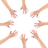 Gruppe der Achten-Hände am Kreis zusammen Lizenzfreie Stockfotografie