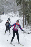 Gruppe der Cross Country-Skifahrenfrau im schönen Kiefernwald Lizenzfreie Stockbilder