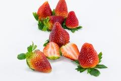 Gruppe der Erdbeere und einer Scheibe Stockfotografie