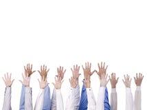 Gruppe der Hand erreichend zur Oberseite Stockbilder