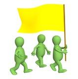 Gruppe der Marionetten, gehörend zu einer gelben Markierungsfahne Stockbild