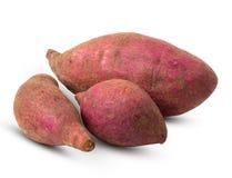 Gruppe der Süßkartoffel lokalisiert auf weißem Hintergrund lizenzfreie stockbilder