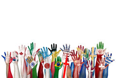 Gruppe der verschiedenen Flagge malte Hände angehoben Lizenzfreie Stockfotografie