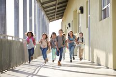 Gruppe der Volksschule scherzt Betrieb in einem Schulkorridor lizenzfreies stockbild